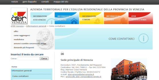 Sito Web ATER Venezia